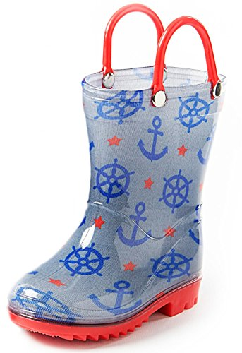 Puddle Play Toddler and Kids Rain Boots with Easy On Handles – Little Kid Size 13 - Boys Blue and Red Nautical Design