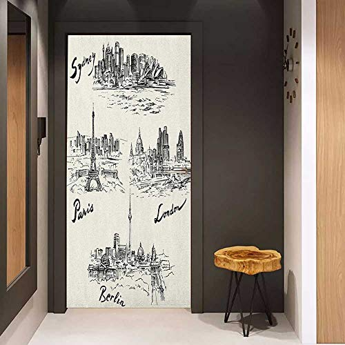 Door Sticker Travel Silhouettes of Different Popular Cities in World Paris Sidney Berlin London Print Glass Film for Home Office W23 x H70 Cream Black