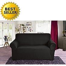 Elegant Comfort Collection Luxury Soft Furniture Jersey STRETCH SLIPCOVER, Loveseat Black