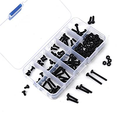 GOCHANGE 160Pcs Black Metric M3 8 Sizes Stand-off Nylon Screws Bolt & Nuts Set Kit Box