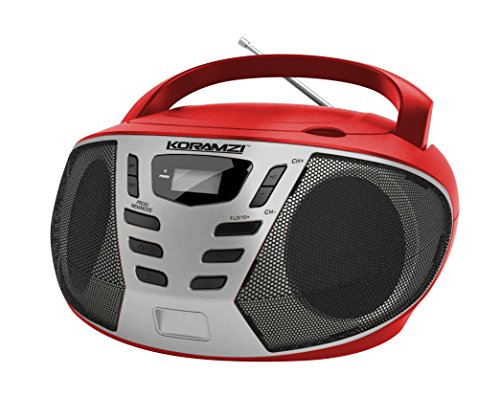 KORAMZI Portable CD Boombox w/ AM/FM Radio,AUX IN, Top Loading CD Player,Telescopic Antenna, LCD Display for Indoor & Outdoor,Offices, Home, Restaurants, Picnics,School ,Camping (Red/Silver) CD55-RDS by Koramzi