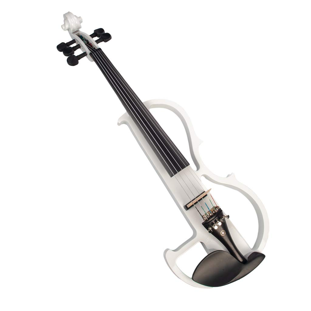 CUTICATE 4/4 Size Electric Violin Kit Musical String Instrument, 5-String, White