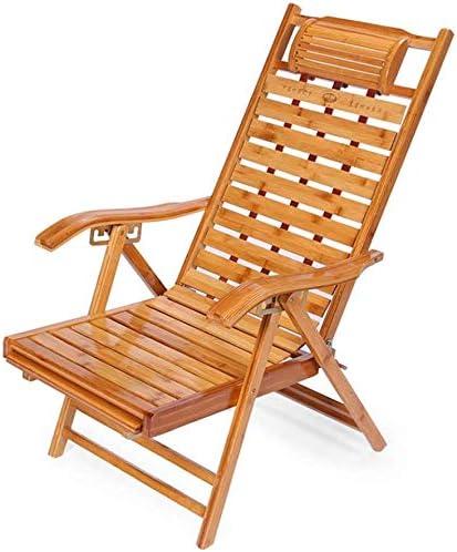NO BRAND Tumbonas Jardin Bamboo reclinable Ancianos Largo Silla Plegable con Brazos de Madera y curvos cojín jardín ergonómico portátil Ajustable para Tomar el Sol en 5 Posiciones: Amazon.es: Jardín