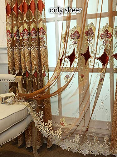 TIYANA Sheer Curtains for Living Room European Design Embroidered Brown/Gold Gauze Drapes Rod Pocket Top 2 Panels 39 inches Wide, 39