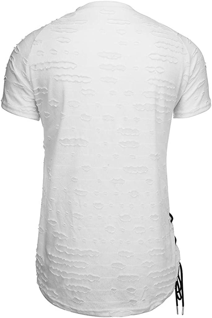Mr.Macy Mens Summer Personality Pure Hole Short Sleeves Irregular Hem Blouse