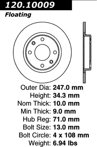 Centric Parts 120.10009 Premium Brake Rotor with E-Coating