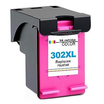 Gmoher Remanufacturado Cartucho de Tinta para HP 302XL HP 302 Cartucho de Tinta HP F6U67AE Compatible con HP DeskJet 1110 1115 2130 2132 2133 HP Envy ...