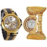 Aaradhya Fashion Analogue White Dial Men And Women Watch-A9F-Julla-Rosara-Combo Of 2