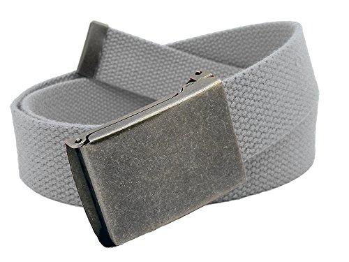 Boys School Uniform Distressed Silver Flip Top Military Belt Buckle with Canvas Web Belt Medium Gray