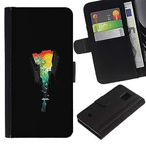 Protector de cuero de la PU de la cubierta del estilo de la carpeta del tirón BY RAYDREAMMM - Samsung Galaxy S5 Mini, SM-G800 - Ciudad Colores