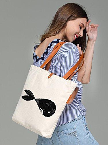 So'each Women's Cartoon Shark Graphic Top Handle Canvas Tote Shoulder Bag