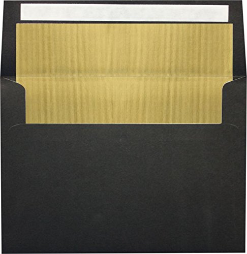 Black Lux Lining - A4 Foil Lined Invitation Envelopes (4 1/4 x 6 1/4) w/Peel & Press - Black w/Gold LUX Lining (50 Qty.) | Perfect for the HOLIDAYS, RSVP Cards, Announcements, Notes, and More! |FLBK4872-04-50