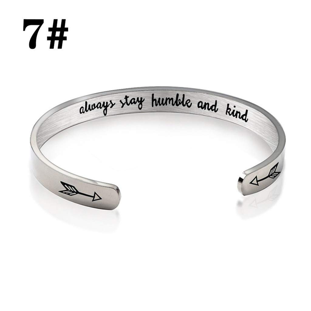 Handmade Hollow Pendant Bracelet Bangle Cuff Stainless Steel Love Inspirational Letters Engraved Gifts for Teen Girls Women Kids Men