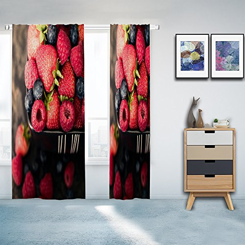 Amazon.com: HGOD DESIGNS fruit décor berry strawberry and grape window Curtains Panels Drapes for Living Room Bedroom Kitchen Polyester Fabric,2 Panels Set ...