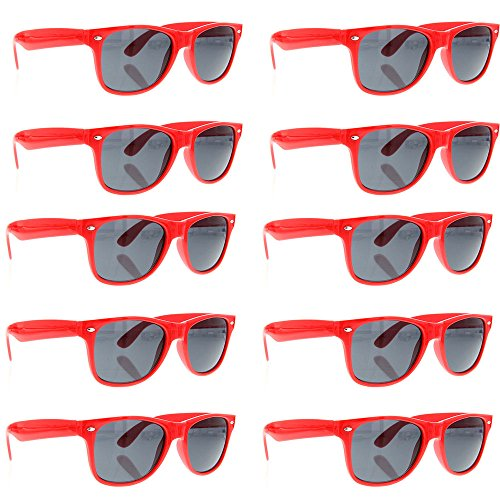 grinderPUNCH Wayfarer Sunglasses 10 Bulk Pack Lot Neon Color Party Glasses - Wholesale Sunglasses Cheap