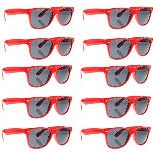 grinderPUNCH Wayfarer Sunglasses 10 Bulk Pack Lot Neon Color Party Glasses - Novelty Cheap Sunglasses Bulk