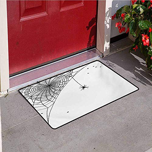 Jinguizi Spider Web Inlet Outdoor Door mat Corner Cobweb with a Hanging Insect Hand Drawn Style Gothic Design with Flies Catch dust Snow and mud W19.7 x L31.5 Inch Black - Gate Outdoor Hill Black Hanging