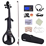 ammoon Full Size 4/4 Solid Wood Electric Silent Violin Fiddle Style-4 Ebony Fingerboard Pegs Chin Rest Tailpiece with Bow Hard Case Tuner Headphones Rosin Extra Strings & Bridge