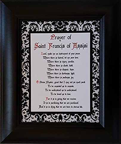 Prayer of St. Francis - Framed Inspirational Catholic and Christian Wall Art - Gift for Priest, Pastor, Deacon, Nun, and any Person of (Catholic Deacon Gifts)