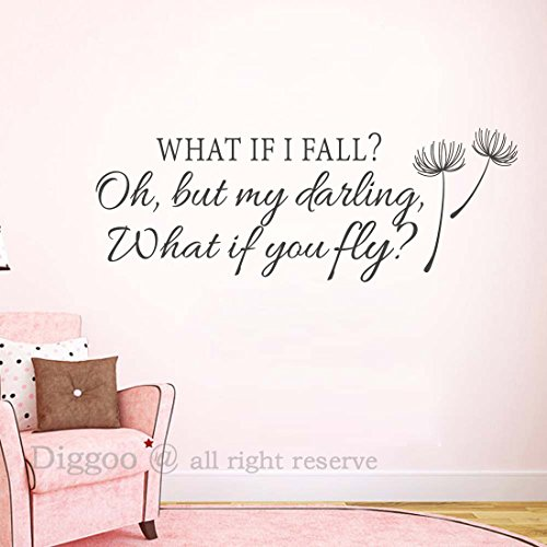 Inspirational Wall Decal Quote - What If I Fall Oh My Darling What If You Fly - Girls Room - Glasses Should Size Get What I