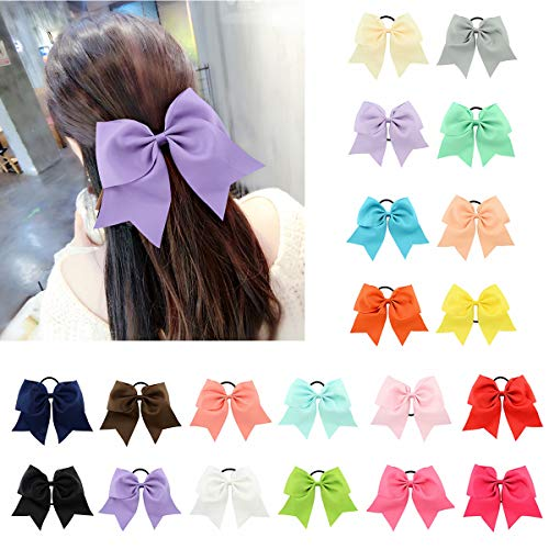 Velscrun 20 Pack 8 Inch Large Hair Bows Tie Elastic Bow Girls Hair Ties Rubber Band Ponytail Holder Grosgrain Ribbon Hair Bands (Ribbon Rubberbands)