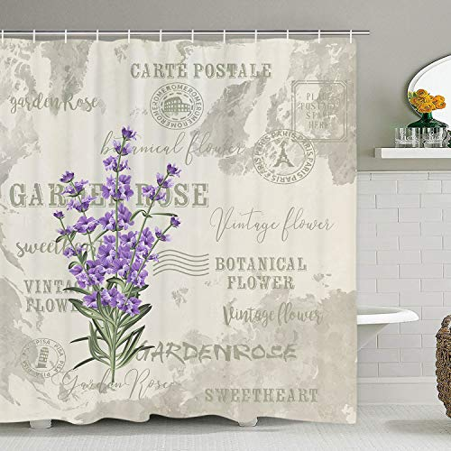 Lavender Shower Curtain Vintage Postcard Flower Shower Curtains with 12 Hooks, Floral Herbs Leaves Durable Waterproof Shower Curtain for Bathroom