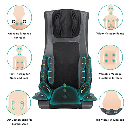 Naipo Back Massager Shiatsu Massage Chair Cushion Electric Full Body Massage Seat Pad with Soothing Heat, Deep Kneading, Rolling, Vibration, Air Compression to Relieve Neck Shoulder Waist Back Pain