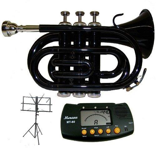 Merano B Flat Black Pocket Trumpet with Case+Metro Tuner+Black Music Stand by Merano