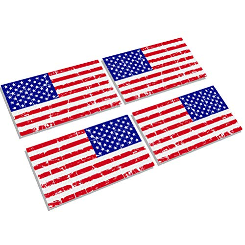 (Creatrill Reflective Distressed Full Color American Flags Decal – 2 Pairs 3x5 in. Tactical Military Tattered USA Flag Stickers for Cars and Trucks, Hard Hat or Lunch Box)
