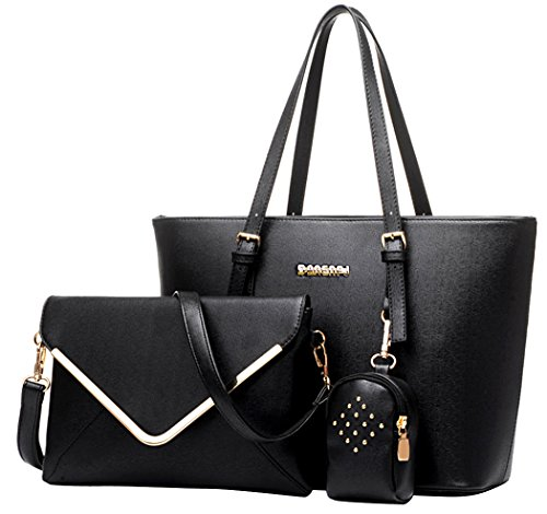 Coofit Damen Handtaschen PU Leder Messenger Bags Tragetaschen Satchel Clutch Wallet Geldbörse, Black, L
