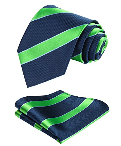 Enmain Stripe Jacquard Woven Men's Wedding Silk Tie Pocket Square Necktie Set Green / Navy Blue