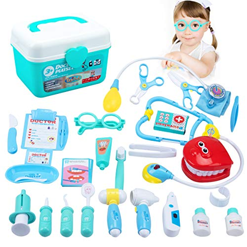 Tigerhu Medical Doctor Toy Kit for Kids with Electronic Stethoscope and 33 Pieces Pretend Play Dentist Set for Toddler Boys Girls from Tigerhu