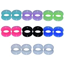 """D&M Jewelry 16pcs Mixed Color 6g-1"""" Thin Soft Silicone Ear Skin Flesh Tunnel Plug Expander"""
