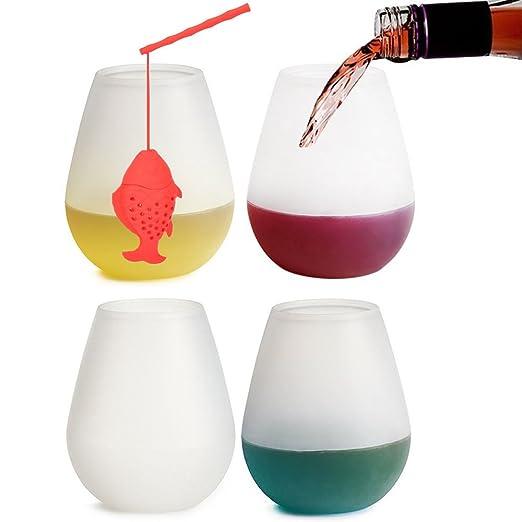Copas de vino de silicona conjunto de 4 - 12 oz irrompible 6 vasos ...