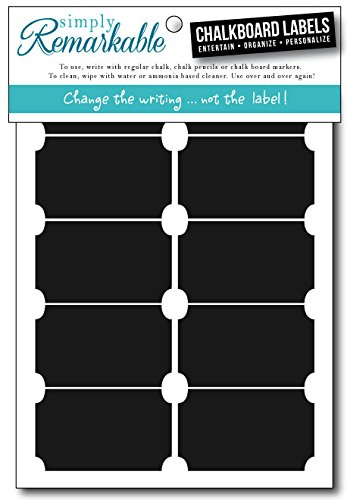 """Simply Remarkable Reusable Chalk Labels - 20 Ticket Shape 2.5"""" x 1.25"""" Adhesive Chalkboard Stickers, Durable Classic Material is Dishwasher Safe with Semi-Permanent Adhesive and Lightly Textured Writing Surface. Can be Wiped Clean and Reused, For Organizing, Decorating, Crafts, Personalized Hostess Gifts, Wedding and Party Favors"""