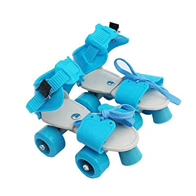 WE&ZHE Adjustable Double-Row Roller Skates Adjustable 4 Wheel Children Beginners Breathable for Boys Girls Indoor and Outdoor,Blue: Home & Kitchen