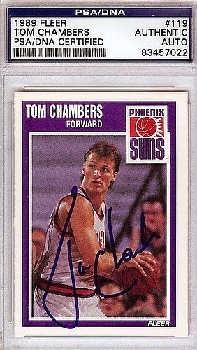 Tom Chambers Signed 1989 Fleer Trading Card #119 - Certified Genuine Autograph By PSA/DNA - NBA Basketball Trading Card
