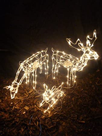 christmas concepts set of 3 animated light up reindeer family with warm white led lights