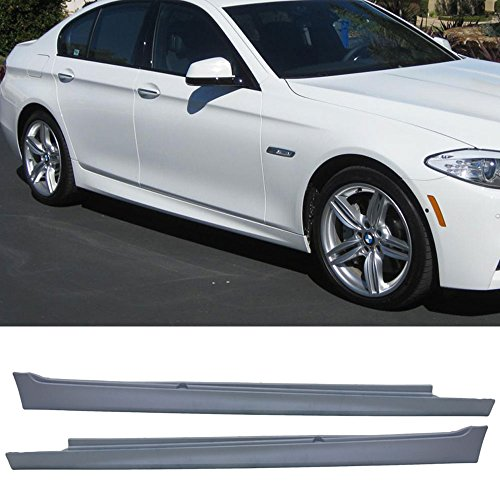 Side Skirt Fits 2011-2016 F10 | 5-Series 4Dr M-Tech Msport Side Skirt Extensions Set Pair PP Polypropylene by IKON MOTORSPORTS | 2012 2013 2014 2015