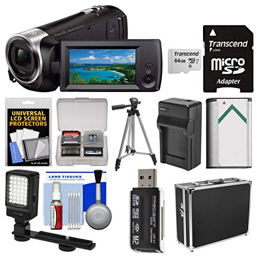 - Sony Handycam HDR-CX405 1080p HD Video Camera Camcorder with 64GB Card + Hard Case + LED Light + Battery & Charger + Tripod + Kit