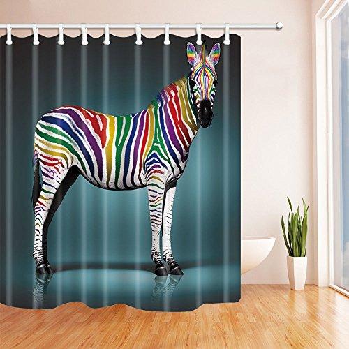blue zebra print shower curtain - 5