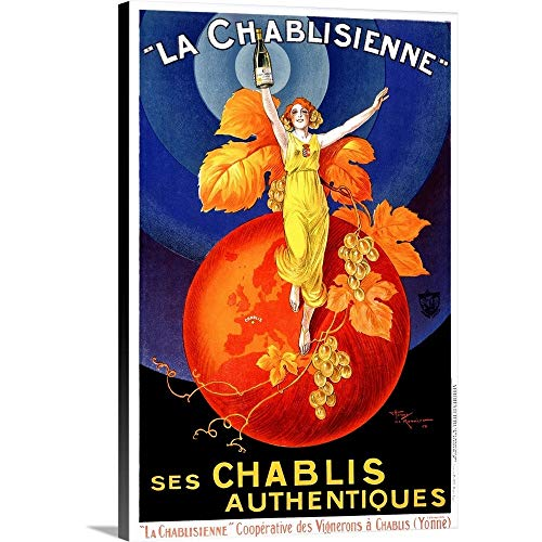 Canvas on Demand Premium Thick-Wrap Canvas Wall Art Print entitled Chablisienne Chablis Wine Vintage Advertising Poster 24''x36'' by Canvas on Demand