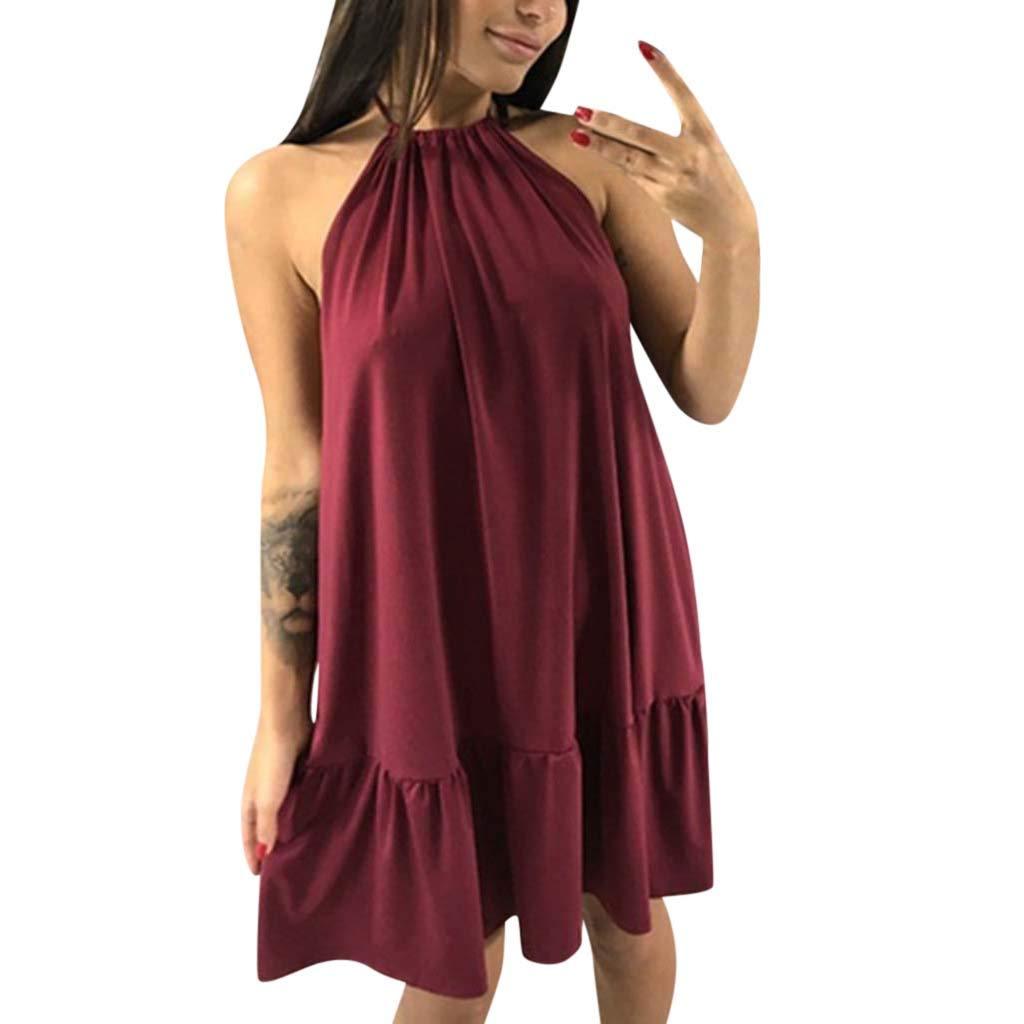 Fineday  Woman Dress, Women's Ladies Solid Short Sleeve Casual Mid Claf Dress Split Summer Dress Wine