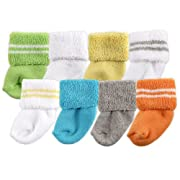 Luvable Friends Unisex 8 Pack Newborn Socks, Yellow, 0-6 Months