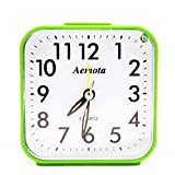 OSMOFUZE Simple Bedroom Alarm Clock, Silent Non Ticking Analog Small Lightweight Alarm Clock with Snooze and Light, Sound Crescendo, Mini Sized Travel Quartz Alarm Clock, Battery Operated (Green)