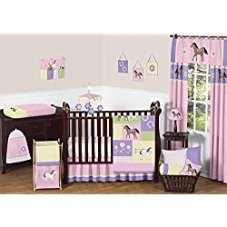Pretty Pony Horse Western Baby Girl Bedding 11pc Crib Set without bumper