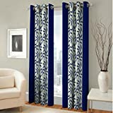 Red Ribbon Fancy Floral Eyelet Single 1 Piece Navy Blue Polyester Curtain,Window 5 Feet
