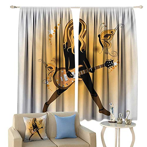 Insulated Sunshade Curtain Popstar Party Girl Silhouette with Hairstyle and Butterflies Playing Guitar Noise Reducing Orange Brown Dark Brown -