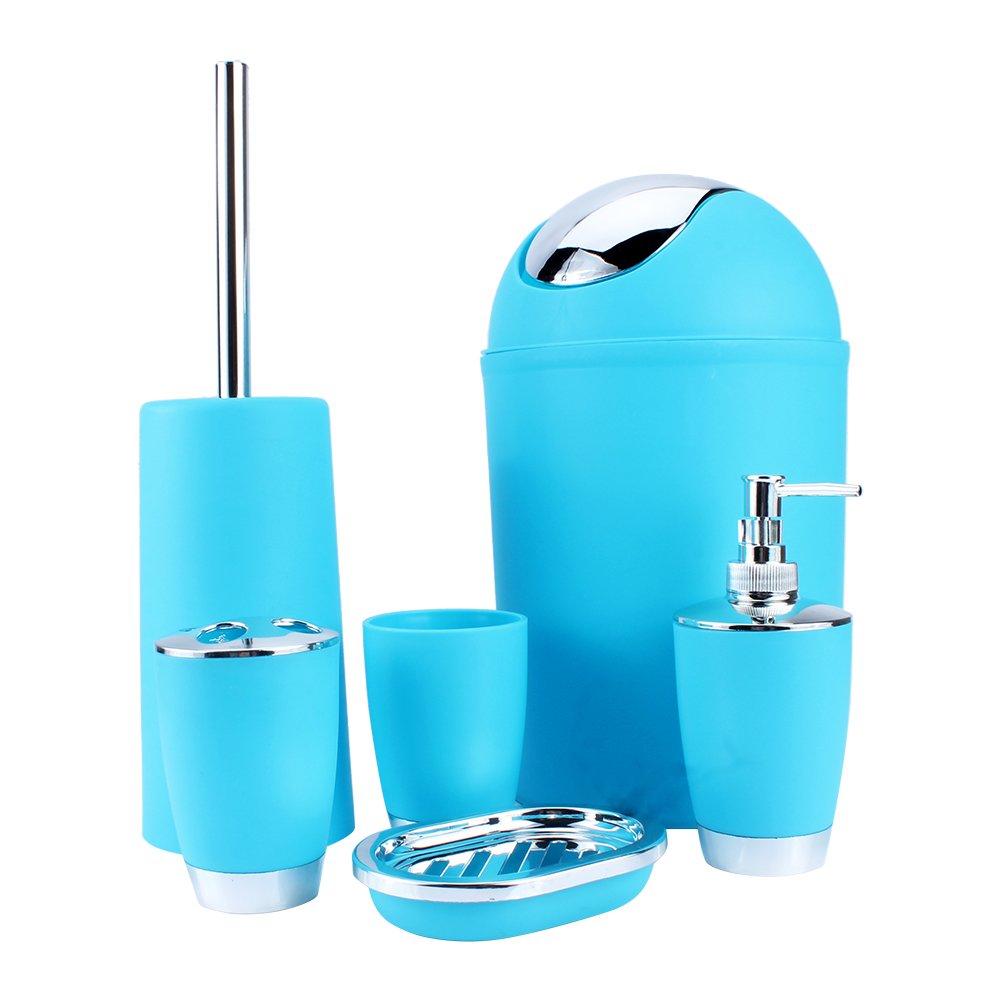 amazoncom yosoo 6 pcs plastic bathroom accessory set luxury bath accessories bath set lotion bottles toothbrush holder tooth mug soap dish