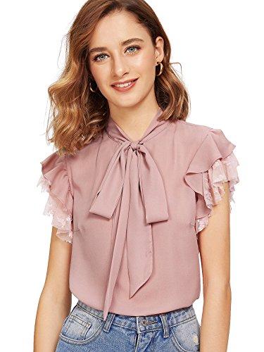 (Verdusa Women's Tie Neck Contrast Mesh Ruffle Short Sleeve Blouse Top Pink M)